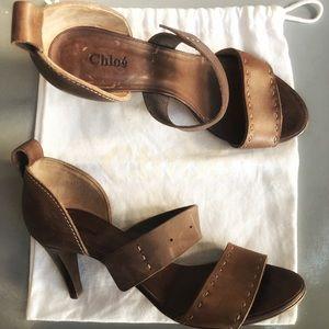 Chloe Brown Leather Distressed Sandal